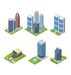 City skyscraper and cafe building set isometric vector