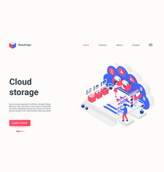 cloud data storage service concept isometric vector image