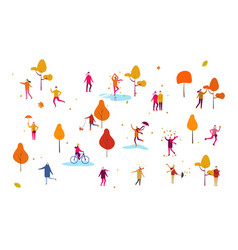 crowd tiny people dressed in autumn clothes or vector image