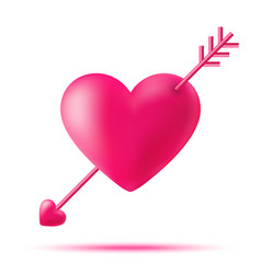 Cupid 3d heart with arrow valentines day vector