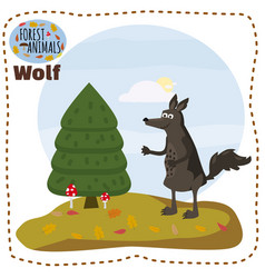 cute cartoon wolf on background landscape forest vector image