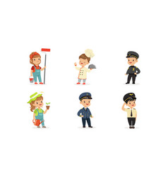 cute kids various professions set painter vector image