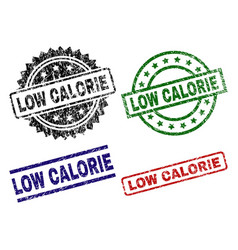 Damaged textured low calorie seal stamps vector