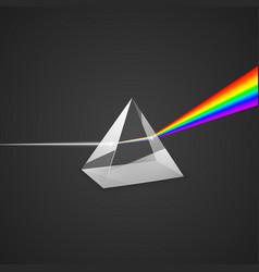 dispersion glass prism and beam light science vector image