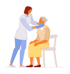Doctor examining sick senior old patient isolated vector