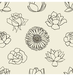 Doodle flowers seamless pattern vector