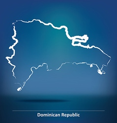 Doodle Map of Dominican Republic vector