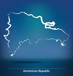 Doodle map of dominican republic vector