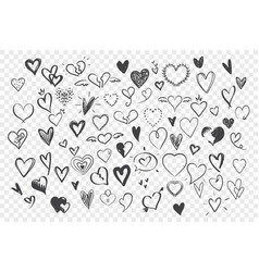 doodle sketches hearts set vector image