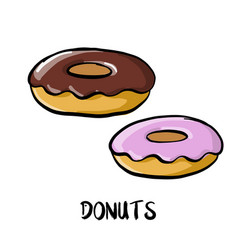 Drawing donuts vector