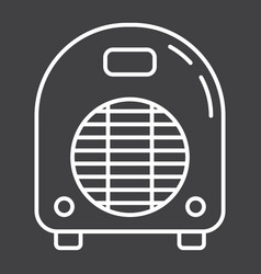 electric fan heater line icon household appliance vector image