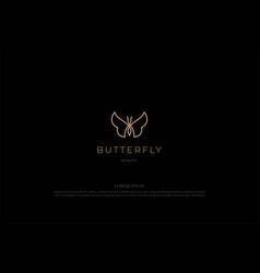 Elegant luxury golden butterfly line outline logo vector