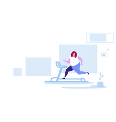 fat obese woman running on treadmill oversize vector image