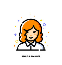 female user avatar of startup founder icon vector image
