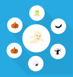 Flat icon festival set of spirit pumpkin gourd vector