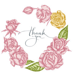 Floral wreath pastel roses vector