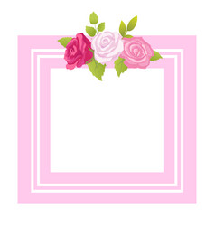 frame decorated by rose flowers with green leaves vector image