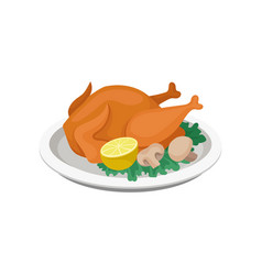 fried chicken served with lemon mushrooms and vector image