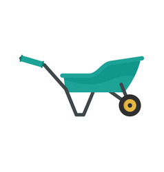 garden wheelbarrow icon flat style vector image