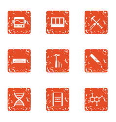 Gene expression icons set grunge style vector