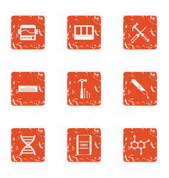 gene expression icons set grunge style vector image
