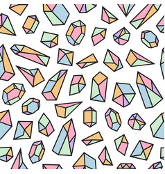 Geometric seamless pattern with crystals vector
