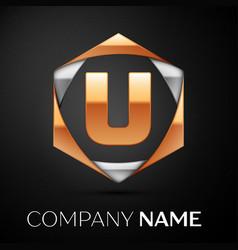 gold letter u logo in the golden-silver hexagonal vector image