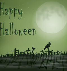 Halloween night cemetery moon ravens vector image