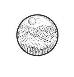 Hand drawn mountain designs vector