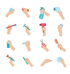 Hand holding objects icons set vector