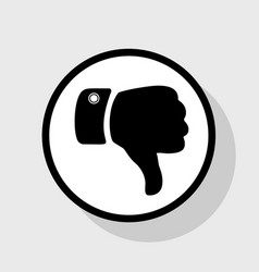 hand sign flat black icon in vector image