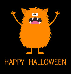 Happy halloween cute orange monster icon cartoon vector