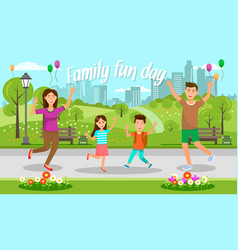 happy mother father and little kids walk outdoor vector image