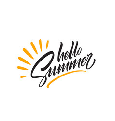 Hello summer handwriting lettering isolated on vector