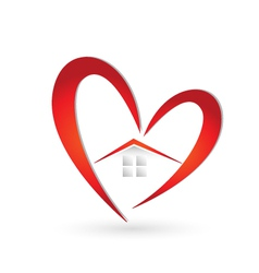 House and heart logo vector image vector image