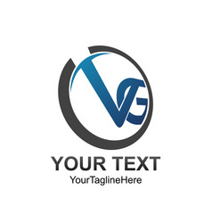 initial letter vg logo template colored grey blue vector image