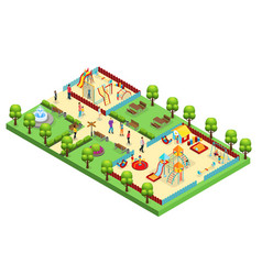 Isometric amusement park concept vector