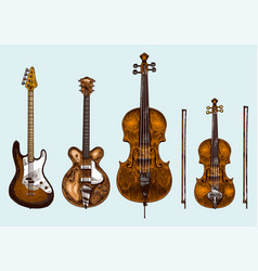 jazz classical wind instruments set musical bass vector image