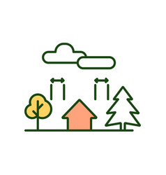 landscaping rgb color icon vector image