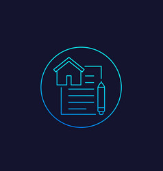 lease contract icon linear vector image