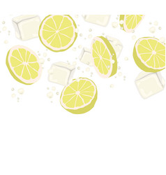 lemon slices and ice slices in the air falling to vector image
