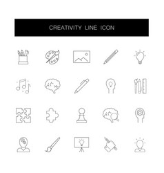 line icons set creativity pack vector image