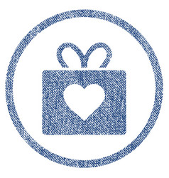 Love gift rounded fabric textured icon vector