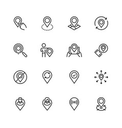 map pin and navigation icon set in thin line style vector image