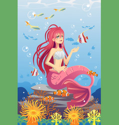 mermaid in ocean vector image