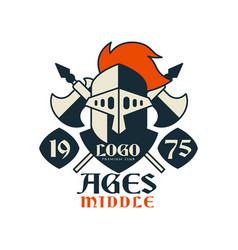 middle ages logo estd 1975 vintage badge or vector image
