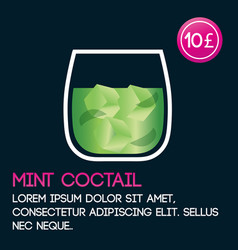 Mint cocktail card template with price and flat vector