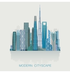 Modern detailed skyline cityscape isolated City vector