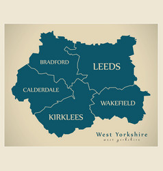 Modern map - west yorkshire metropolitan county vector