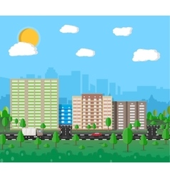 Modern summer City View Cityscape vector